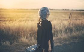 Картинка девушка, коса, голубые волосы