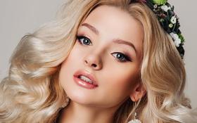 Картинка девушка, фон, портрет, макияж, прическа, блондинка, красивая