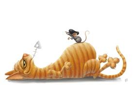 Обои Рисунок, Кот, МышЬ