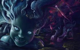 Обои вода, лицо, болото, русалка, лягушка, арт, девочка