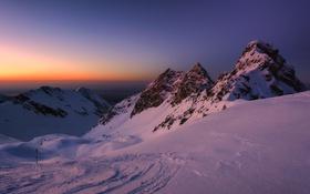 Обои ночь, снег, горы