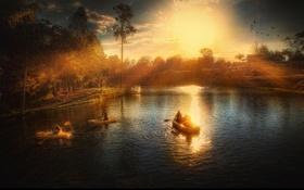 Обои солнце, лучи, пейзаж, закат, озеро, люди, отдых
