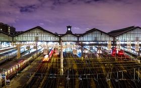Обои огни, Франция, Париж, рельсы, вокзал, Сен-Лазар
