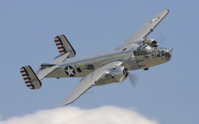 Картинка бомбардировщик, американский, двухмоторный, средний, Mitchell, B-25