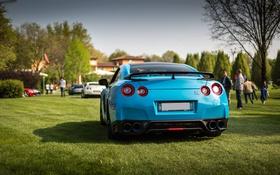 Обои газон, GTR, Nissan, GT-R, R35