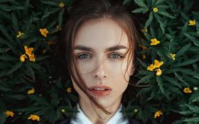 Картинка Цветы, Девушка, Взгляд, Губки, Фотосессия, Виктория Вишневецкая, Отражение Весны