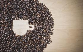 Обои кофейные зерна, кружка, кофе