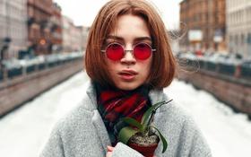 Картинка цветок, девушка, портрет, пирсинг, очки, Roman Filippov