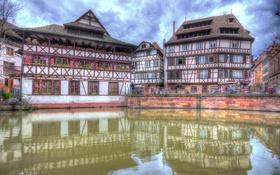 Обои Франция, дома, hdr, канал, Страсбург