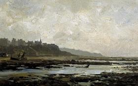 Обои пейзаж, город, берег, картина, отлив, Карлос де Хаэс, Пляж в Виллервиле