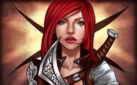 Обои взгляд, девушка, оружие, игра, арт, League of Legends, Katarina