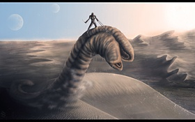 Обои man, sand, Dune, sandworm