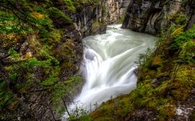 Обои река, течение, Канада, каньон, Альберта, Jasper National Park, Maligne Canyon