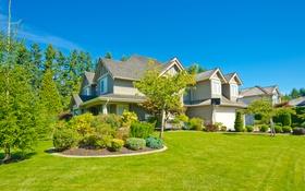Обои зелень, лето, небо, трава, деревья, дизайн, дом