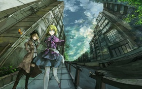 Картинка город, девушки, дома, аниме, арт, touhou, usami renko
