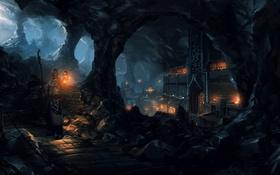 Обои sentinel, lantern, street, underground, village