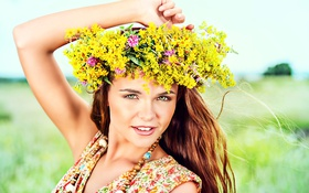 Картинка поле, лето, девушка, цветы, ромашки, желтые, платье