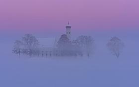 Картинка зима, снег, Германия, Бавария, дымка, мгла, Швангау