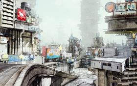 Обои город, фантастика, игра, Hawken