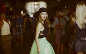 Обои девушка, юбка, шляпа