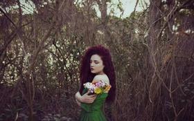 Картинка лето, девушка, цветы, лицо, волосы, платье