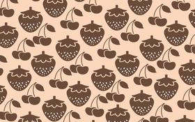Обои ягоды, фрукты, еда, текстура, вишня, клубника