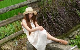 Картинка лето, девушка, лицо, волосы, забор, шляпа