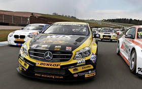 Обои зеленый, Mercedes-Benz, мерседес, амг, A-class, W176, British Touring Car Championship