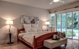 Обои дизайн, стиль, лампа, кровать, подушки, спальня, панно