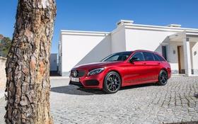 Обои красный, Mercedes-Benz, мерседес, универсал, C-Class, S205