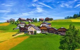 Картинка небо, холмы, голубое, поля, дома, Италия, заборы