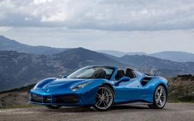 Обои Ferrari, суперкар, феррари, синяя, Spider, 488