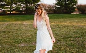 Картинка девушка, платье, блондинка