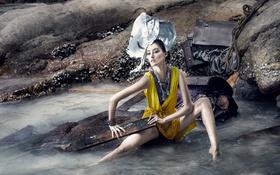 Картинка море, девушка, фон