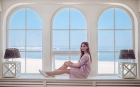 Картинка девушка, поза, окно, подоконник, сидит