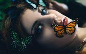 Картинка девушка, бабочки, макияж, губки, Bolboreta