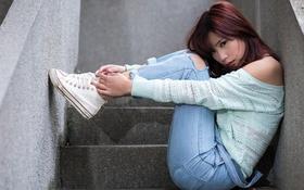 Картинка волосы, лицо, девушка, джинсы, ступеньки