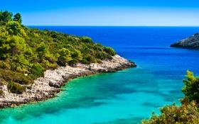 Обои море, небо, камни, побережье, горизонт, кусты, Хорватия