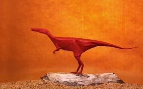 Обои бумага, фон, динозавр, оригами, Целофиз