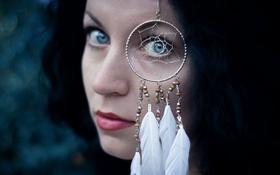 Картинка лицо, перья, ловец снов, Claudia Ricci