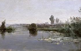 Обои природа, картина, Речной Пейзаж, Карлос де Хаэс