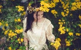 Картинка брюнетка, венок, желтые лепестки, Cassie Eggert