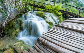 Обои камни, скалы, водопад, мох, мостки