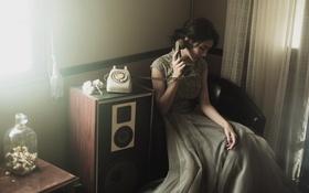 Картинка девушка, дом, телефон