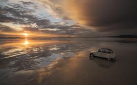 Обои море, машина, закат