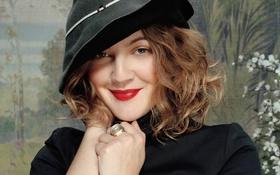 Картинка лицо, улыбка, шляпа, актриса, Drew Barrymore