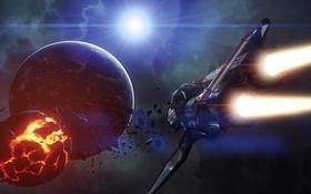 Обои полет, взрыв, корабль, Star Citizen, Origin M50