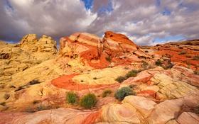 Обои пейзаж, горы, камни, скалы, краски, США, Невада