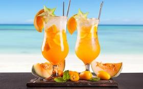 Обои море, пляж, коктейль, summer, фрукты, beach, fresh