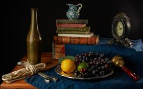 Обои лимон, часы, книги, виноград, лайм, кувшин, фрукты